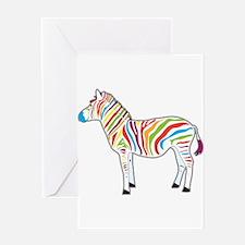 Multicolor Zebra Greeting Card