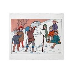 1930's Snow Fun #5 Throw Blanket