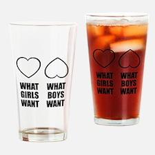 Girls Boys Heart Drinking Glass