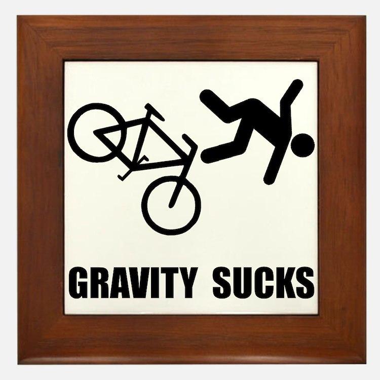 Gravity Sucks Bike Framed Tile