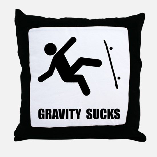 Skateboard Gravity Throw Pillow