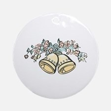 Wedding Bells and Flowers Ornament (Round)