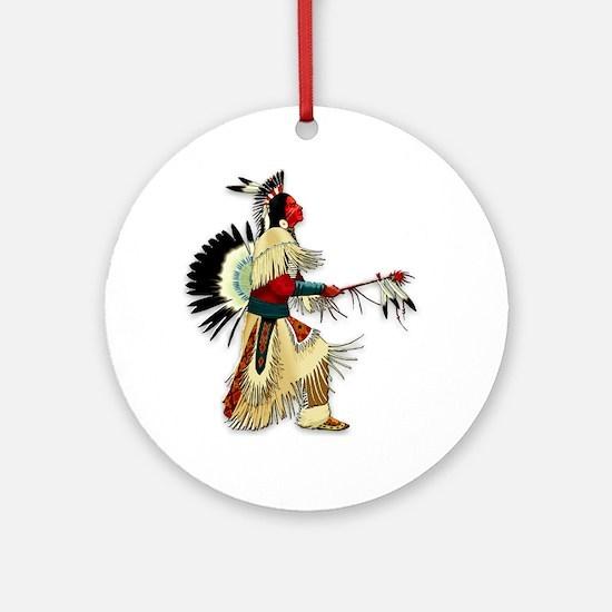 Native American Warrior #5 Ornament (Round)