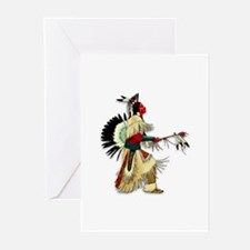 Native American Warrior #5 Greeting Cards (Pk of 2