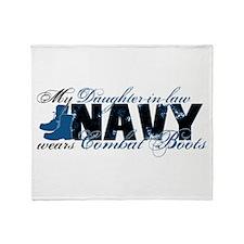 Daughter Law Combat Boots - NAVY Throw Blanket