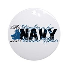 Daughter Law Combat Boots - NAVY Ornament (Round)