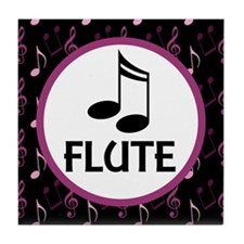 Flute Musical Notes Tile Coaster
