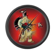 Native American Warrior #6 Large Wall Clock