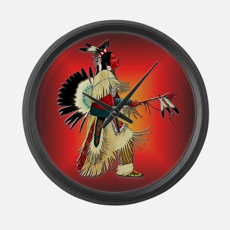 Native American Warrior #6 Large Wall Clock