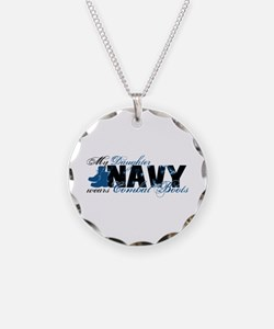 Daughter Combat Boots - NAVY Necklace Circle Charm
