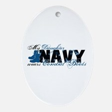 Daughter Combat Boots - NAVY Ornament (Oval)