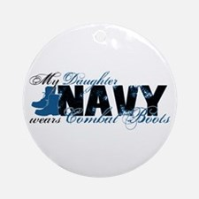 Daughter Combat Boots - NAVY Ornament (Round)
