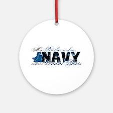 Bro Law Combat Boots - NAVY Ornament (Round)
