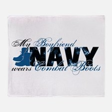 Boyfriend Combat Boots - NAVY Throw Blanket