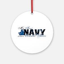 Aunt Combat Boots - NAVY Ornament (Round)