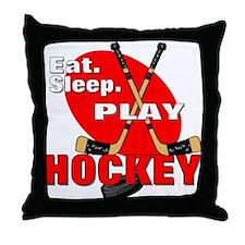 Eat Sleep Play Hockey Throw Pillow