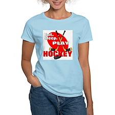 Eat Sleep Play Hockey Women's Pink T-Shirt