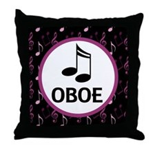 Oboe Music Notes Throw Pillow