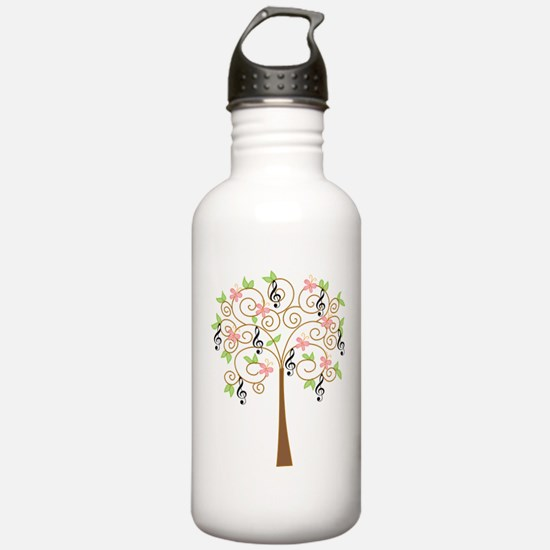 Music Treble Clef Tree Gift Water Bottle