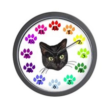 Black Cat Face Wall Clock