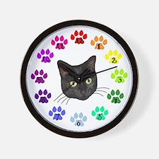 Black Cat Face Wall Clock