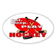 Eat Sleep Play Hockey Oval Decal