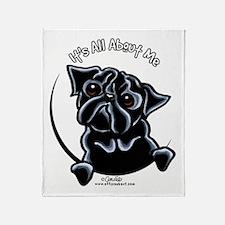 Black Pug IAAM Throw Blanket