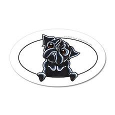 Funny Black Pug 22x14 Oval Wall Peel
