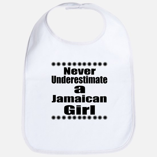 Never Underestimate A Jamaican Gir Cotton Baby Bib