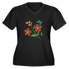 Material Flowers Women's Plus Size V-Neck Dark T-S