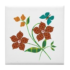 Material Flowers Tile Coaster