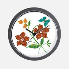 Material Flowers Wall Clock