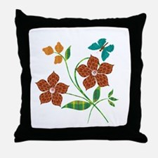 Material Flowers Throw Pillow