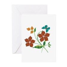 Material Flowers Greeting Cards (Pk of 20)