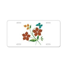 Material Flowers Aluminum License Plate