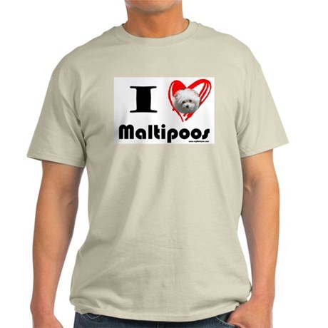 I Love Maltipoos Ash Grey T-Shirt