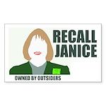 Rectangular sticker: Recall Janice - Owned