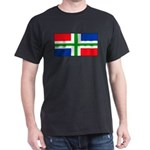 Groningen Gronings Blank Flag Black T-Shirt