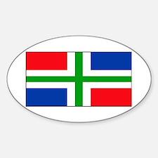 Groningen Gronings Blank Flag Oval Decal