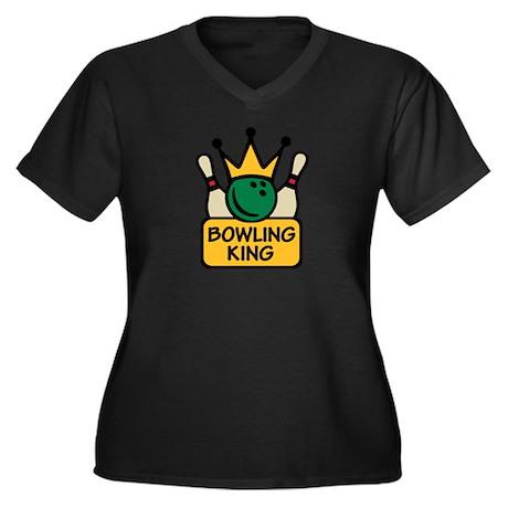 Bowling King Women's Plus Size V-Neck Dark T-Shirt