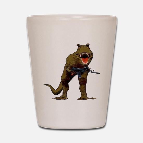 T Rex w AK Shot Glass