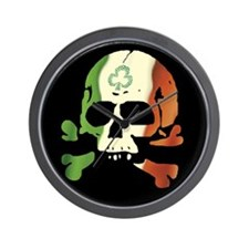 Irish Flag Skull Wall Clock