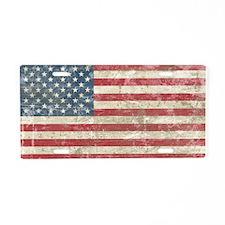 Vintage USA Flag Aluminum License Plate