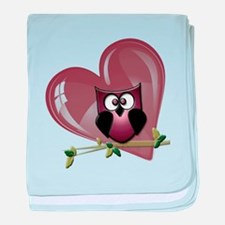 Valentine Owl and Red Heart baby blanket