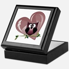 Valentine Owl and Red Heart Keepsake Box