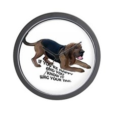 happy bloodhound Wall Clock