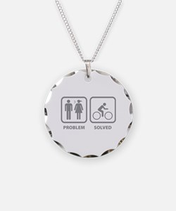 Problem Solved Cycling Necklace Circle Charm