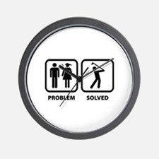 Problem Solved Golfing Wall Clock
