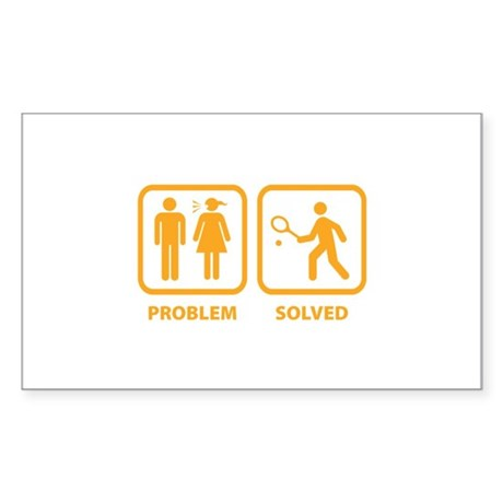 Problem Solved Tennis Sticker (Rectangle)