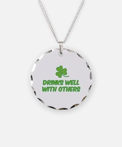 Drinks well with others Necklace Circle Charm